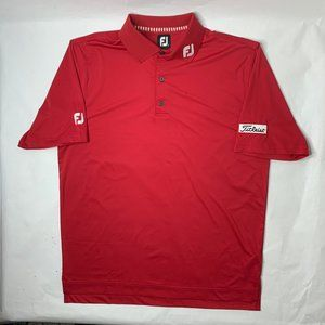 Footjoy Mens Large Titleist Polo Shirt Red